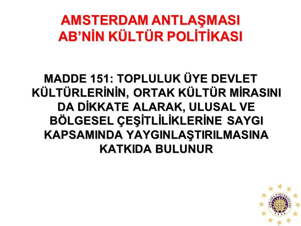 AMSTERDAM ANTLAŞMASI AB'NİN KÜLTÜR POLİTİKASI