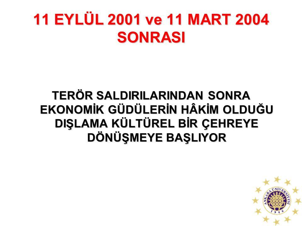 11 EYLÜL 2001 ve 11 MART 2004 SONRASI TERÖR SALDIRILARINDAN SONRA EKONOMİK GÜDÜLERİN HÂKİM OLDUĞU DIŞLAMA KÜLTÜREL BİR ÇEHREYE DÖNÜŞMEYE BAŞLIYOR.