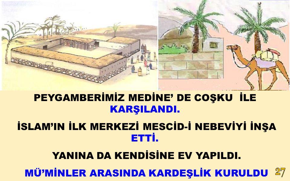 PEYGAMBERİMİZ MEDİNE' DE COŞKU İLE KARŞILANDI.