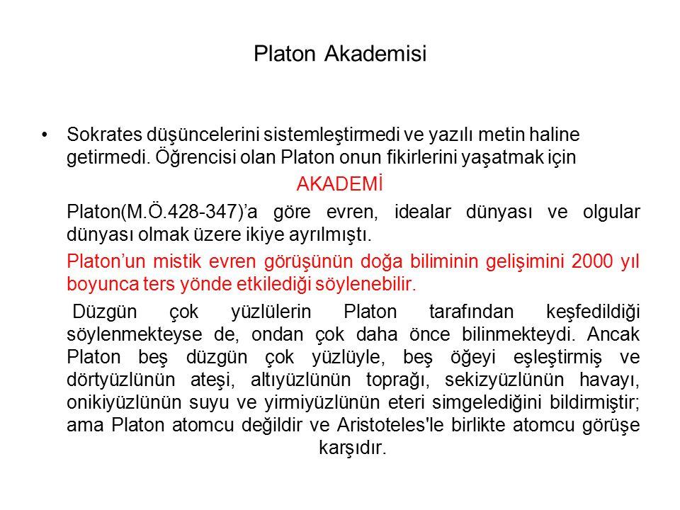Platon Akademisi Sokrates düşüncelerini sistemleştirmedi ve yazılı metin haline getirmedi. Öğrencisi olan Platon onun fikirlerini yaşatmak için.