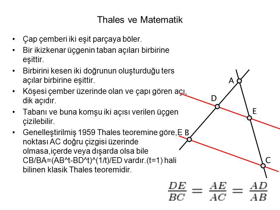 Thales ve Matematik Çap çemberi iki eşit parçaya böler.