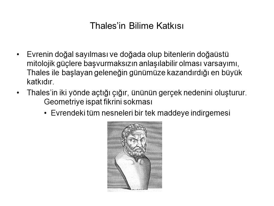 Thales'in Bilime Katkısı