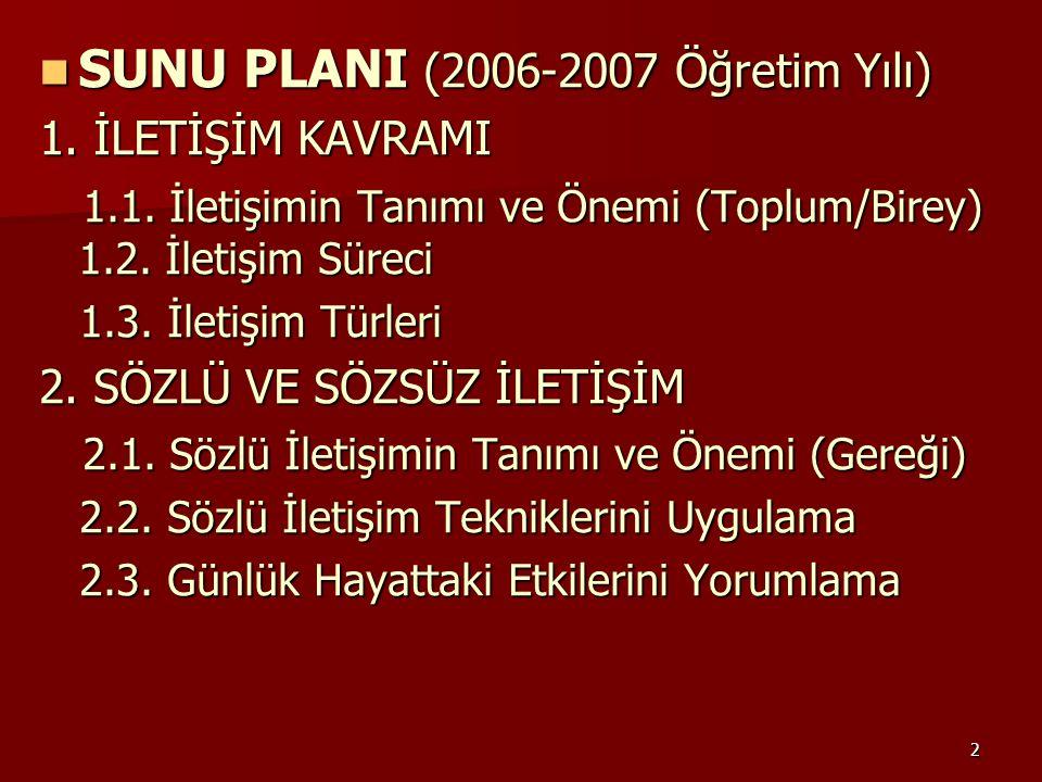SUNU PLANI (2006-2007 Öğretim Yılı)
