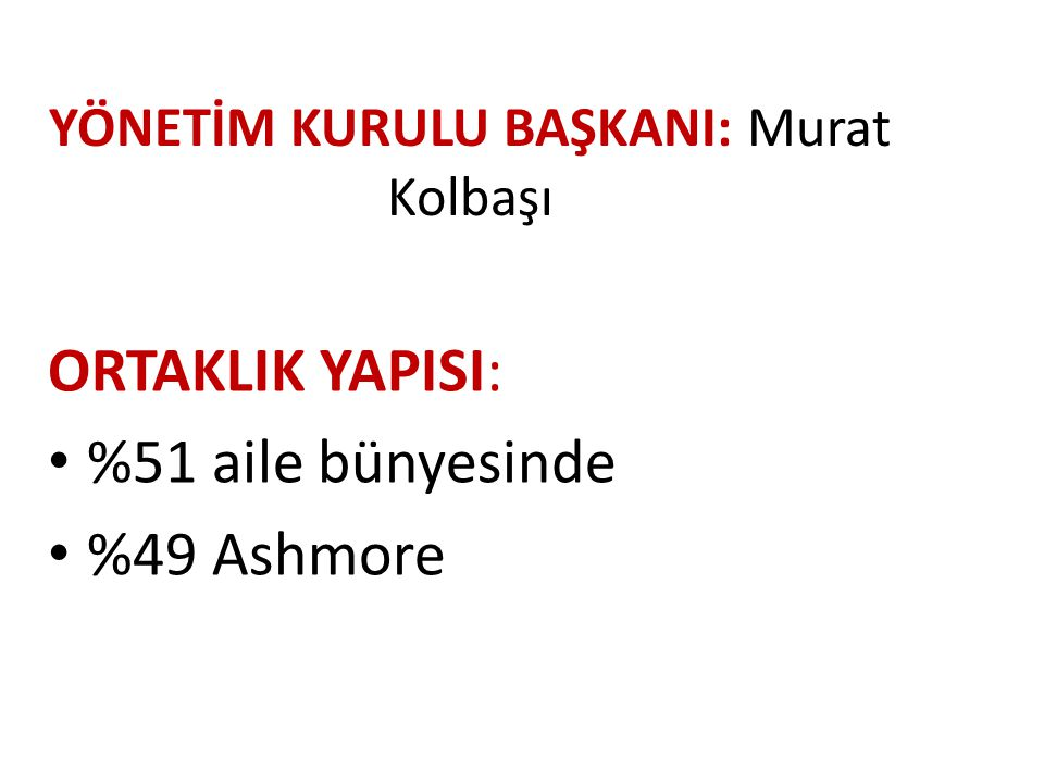 YÖNETİM KURULU BAŞKANI: Murat Kolbaşı