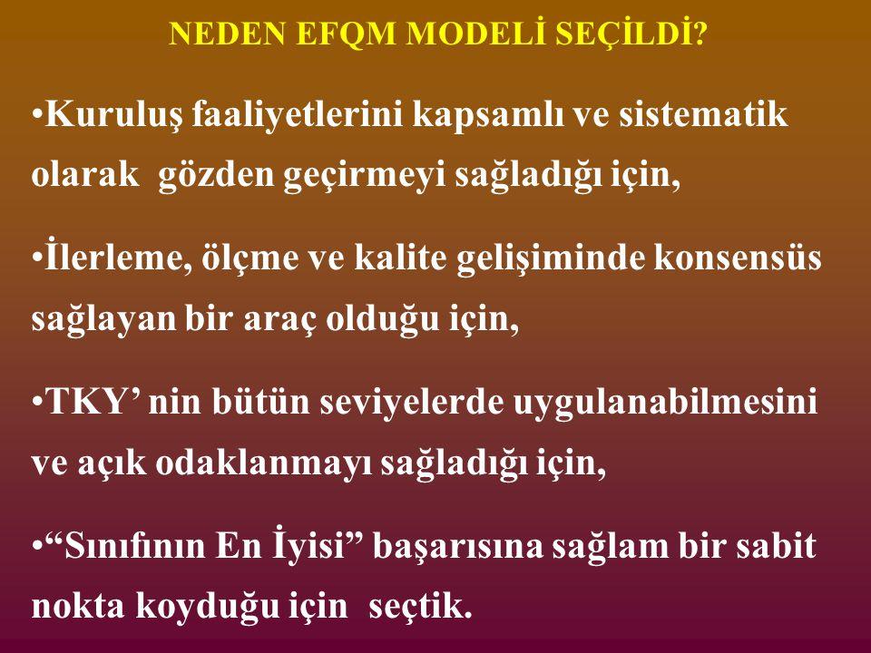 NEDEN EFQM MODELİ SEÇİLDİ