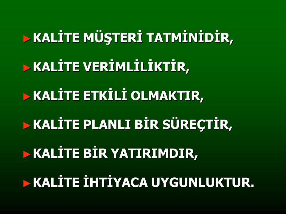 KALİTE MÜŞTERİ TATMİNİDİR,