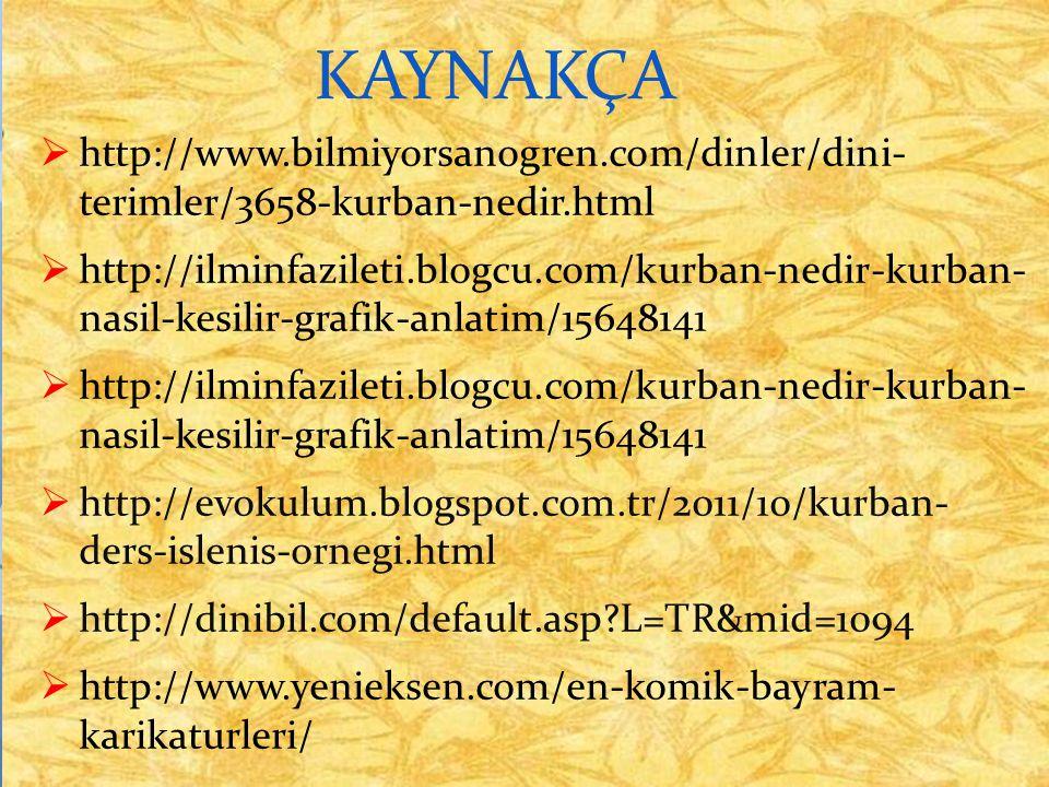 KAYNAKÇA http://www.bilmiyorsanogren.com/dinler/dini- terimler/3658-kurban-nedir.html.