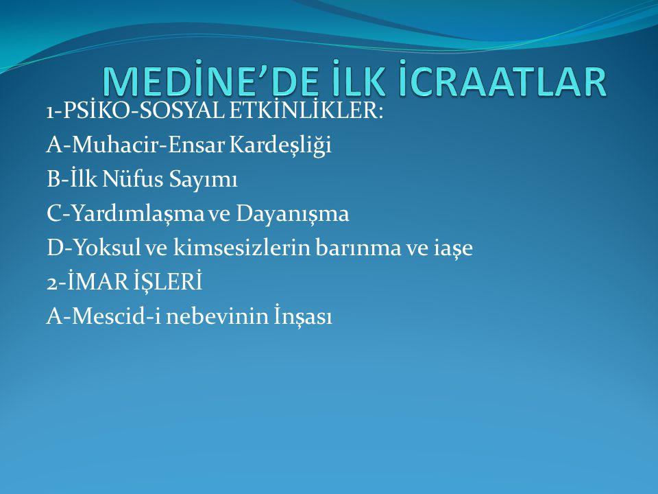 MEDİNE'DE İLK İCRAATLAR