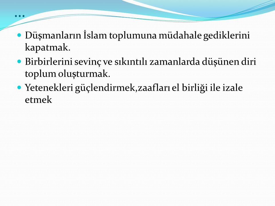 … Düşmanların İslam toplumuna müdahale gediklerini kapatmak.