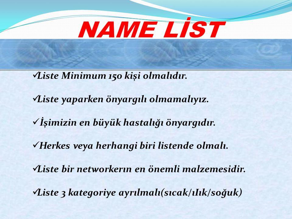NAME LİST Liste Minimum 150 kişi olmalıdır.