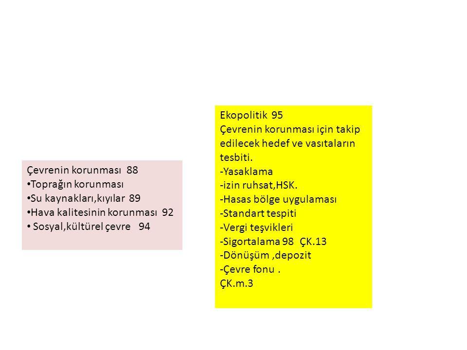 Ekopolitik 95 Çevrenin korunması için takip edilecek hedef ve vasıtaların tesbiti. -Yasaklama. -izin ruhsat,HSK.