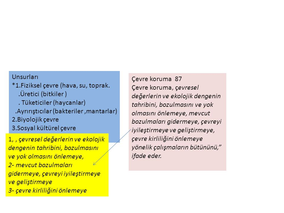 Unsurları *1.Fiziksel çevre (hava, su, toprak. .Üretici (bitkiler ) . Tüketiciler (haycanlar) .Ayrırıştıcılar (bakteriler ,mantarlar)