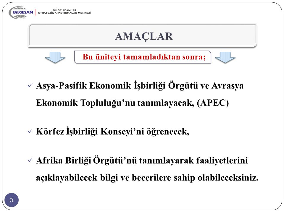AMAÇLAR Bu üniteyi tamamladıktan sonra; Asya-Pasifik Ekonomik İşbirliği Örgütü ve Avrasya Ekonomik Topluluğu'nu tanımlayacak, (APEC)
