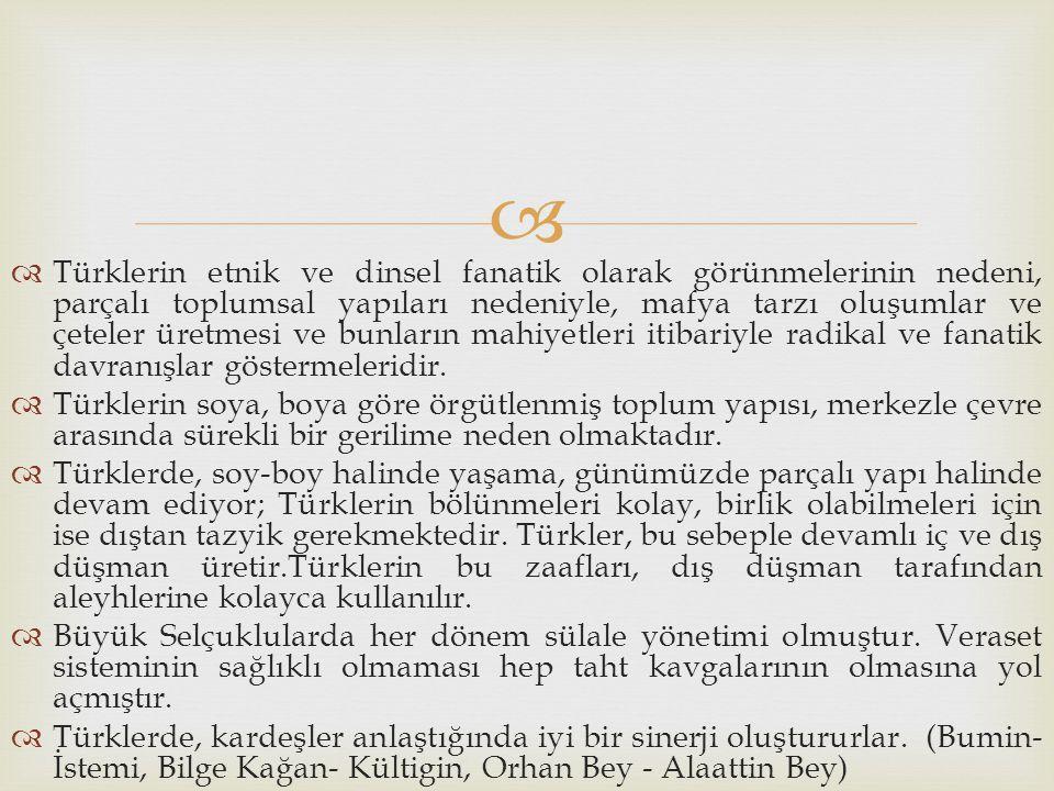 Türklerin etnik ve dinsel fanatik olarak görünmelerinin nedeni, parçalı toplumsal yapıları nedeniyle, mafya tarzı oluşumlar ve çeteler üretmesi ve bunların mahiyetleri itibariyle radikal ve fanatik davranışlar göstermeleridir.
