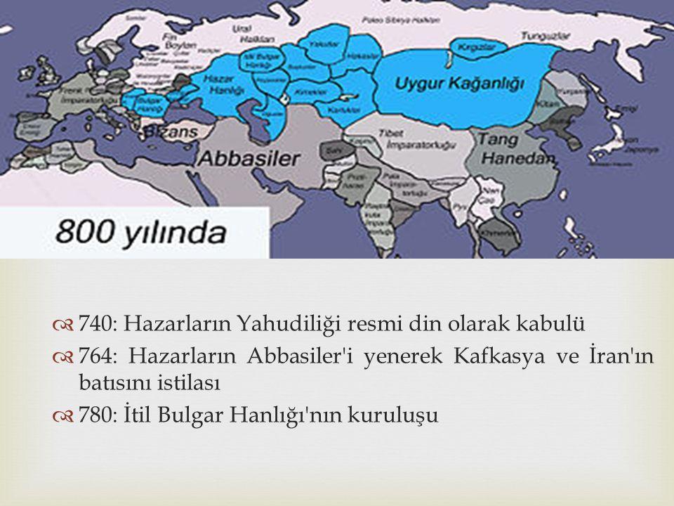 740: Hazarların Yahudiliği resmi din olarak kabulü