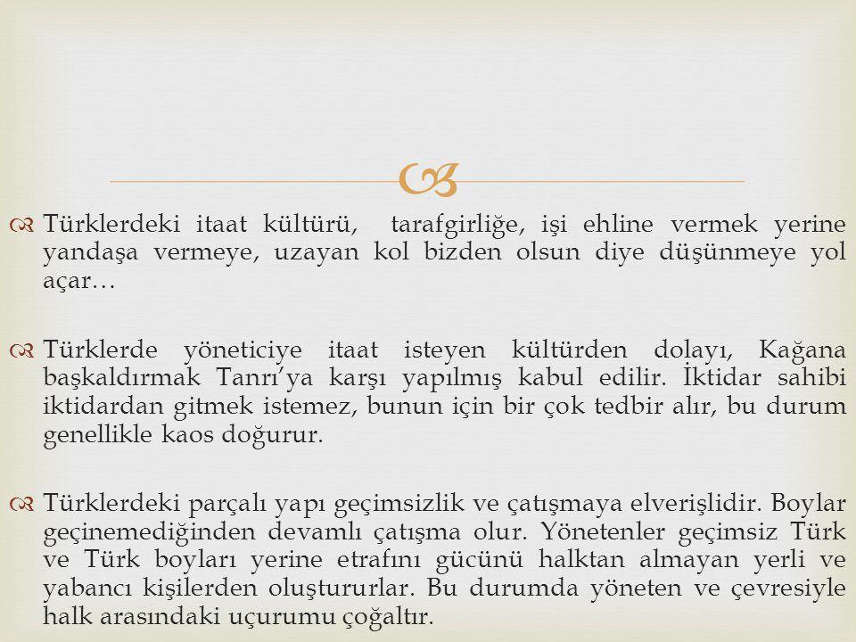 Türklerdeki itaat kültürü, tarafgirliğe, işi ehline vermek yerine yandaşa vermeye, uzayan kol bizden olsun diye düşünmeye yol açar…