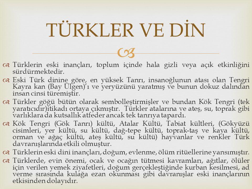 TÜRKLER VE DİN Türklerin eski inançları, toplum içinde hala gizli veya açık etkinliğini sürdürmektedir.