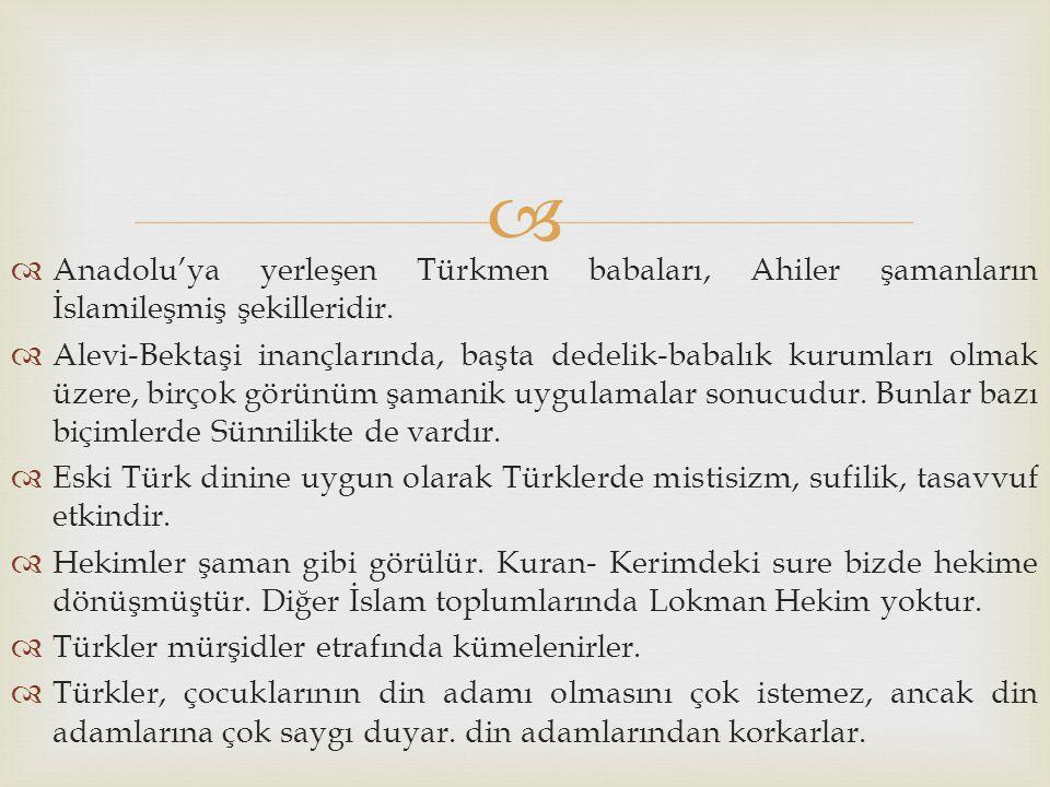 Anadolu'ya yerleşen Türkmen babaları, Ahiler şamanların İslamileşmiş şekilleridir.