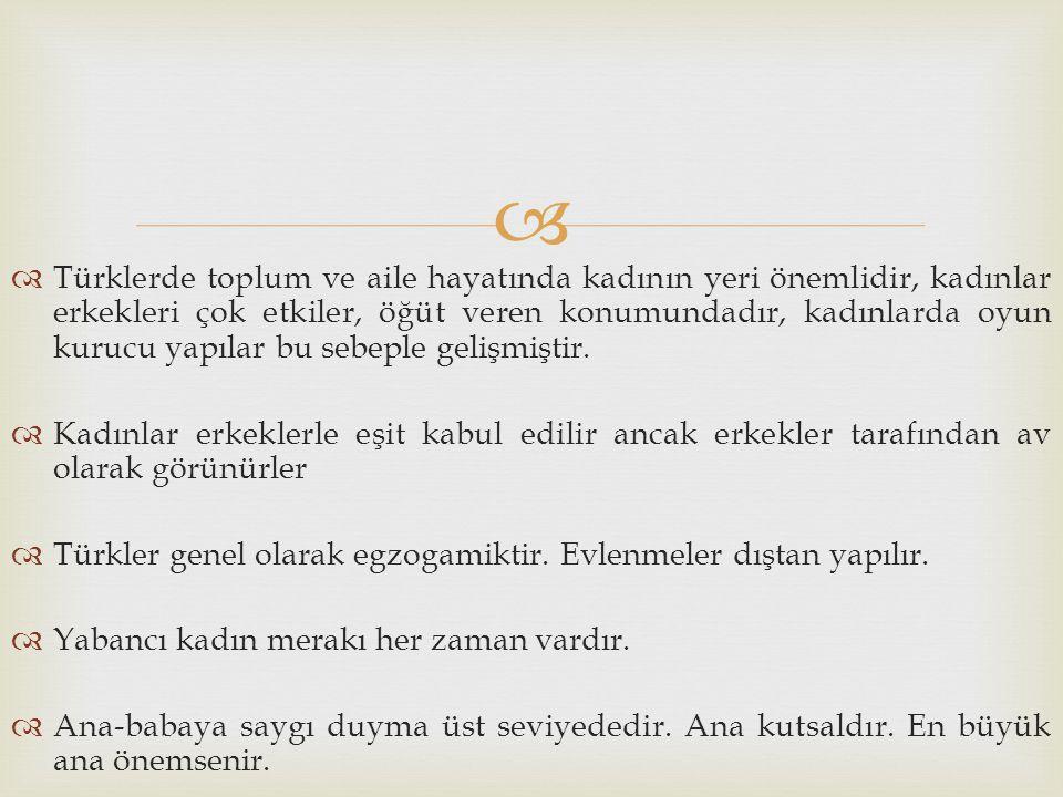 Türklerde toplum ve aile hayatında kadının yeri önemlidir, kadınlar erkekleri çok etkiler, öğüt veren konumundadır, kadınlarda oyun kurucu yapılar bu sebeple gelişmiştir.