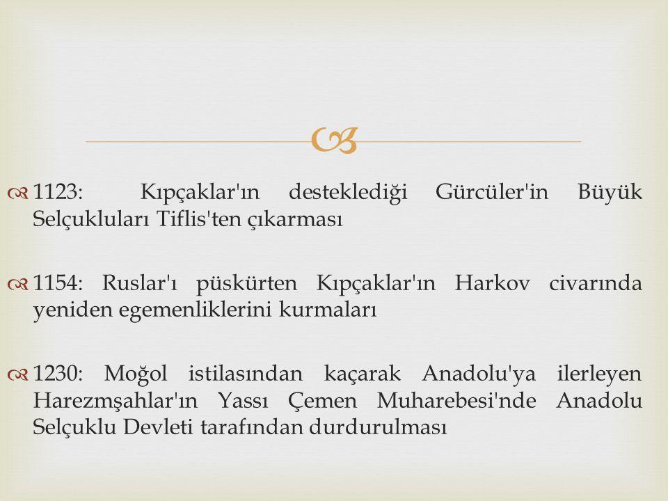 1123: Kıpçaklar ın desteklediği Gürcüler in Büyük Selçukluları Tiflis ten çıkarması