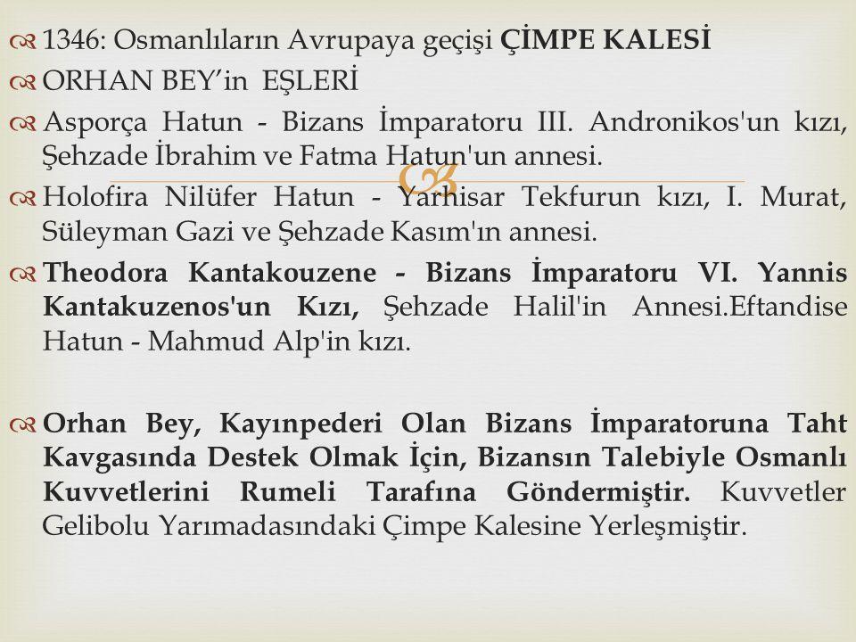 1346: Osmanlıların Avrupaya geçişi ÇİMPE KALESİ