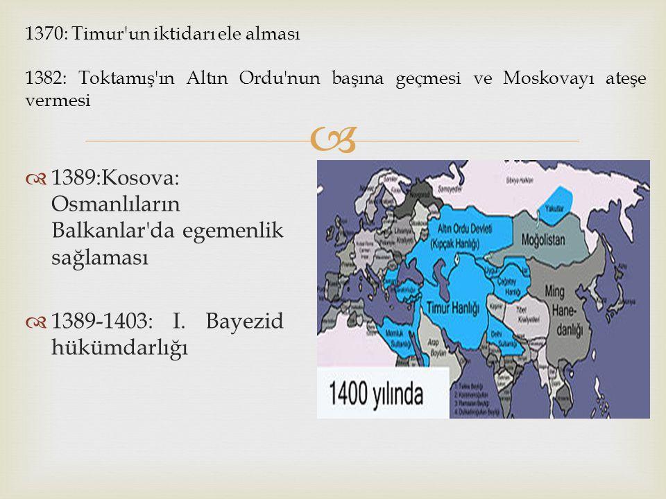 1389:Kosova: Osmanlıların Balkanlar da egemenlik sağlaması