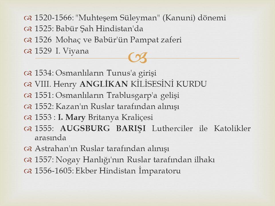 1520-1566: Muhteşem Süleyman (Kanuni) dönemi
