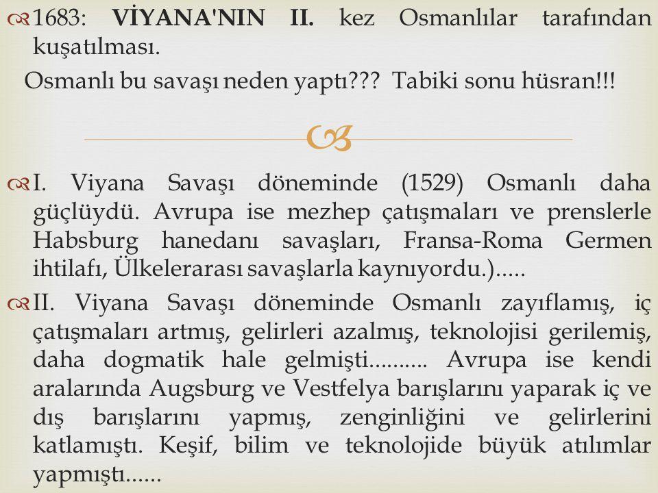 1683: VİYANA NIN II. kez Osmanlılar tarafından kuşatılması.