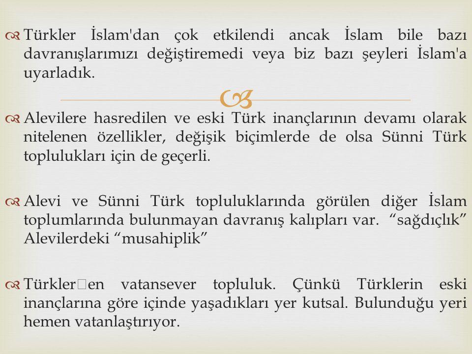 Türkler İslam dan çok etkilendi ancak İslam bile bazı davranışlarımızı değiştiremedi veya biz bazı şeyleri İslam a uyarladık.