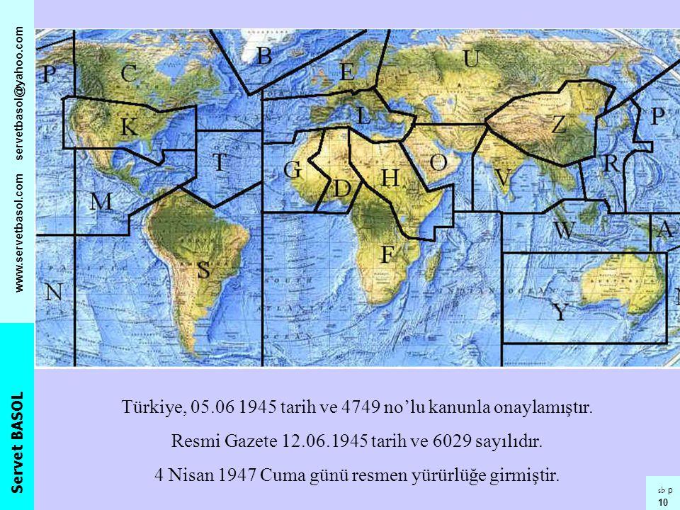 Türkiye, 05.06 1945 tarih ve 4749 no'lu kanunla onaylamıştır.