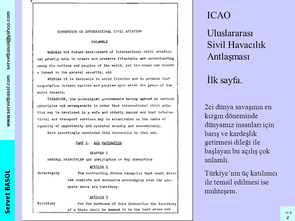 Uluslararası Sivil Havacılık Antlaşması İlk sayfa.