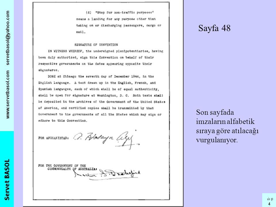 Sayfa 48 Son sayfada imzaların alfabetik sıraya göre atılacağı vurgulanıyor.