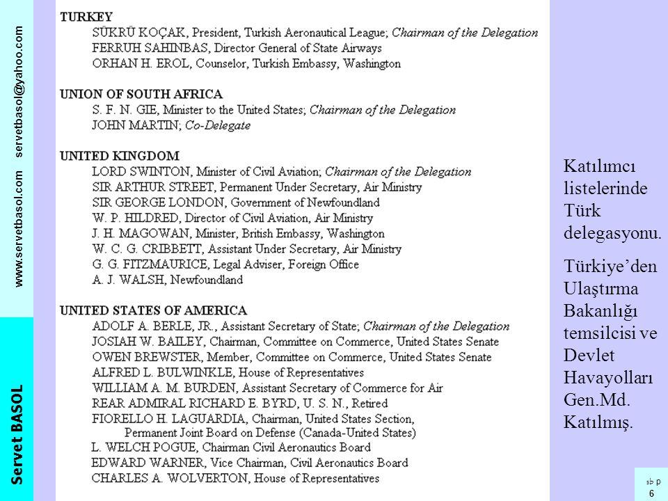 Katılımcı listelerinde Türk delegasyonu.