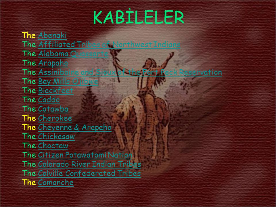 KABİLELER The Affiliated Tribes of Northwest Indians
