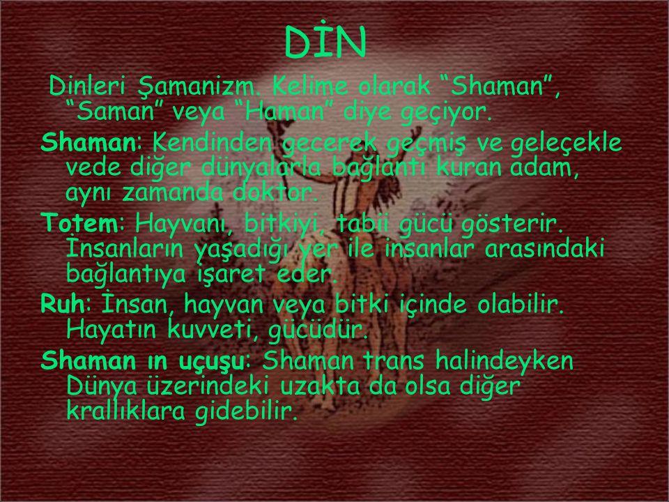 DİN Dinleri Şamanizm. Kelime olarak Shaman , Saman veya Haman diye geçiyor.