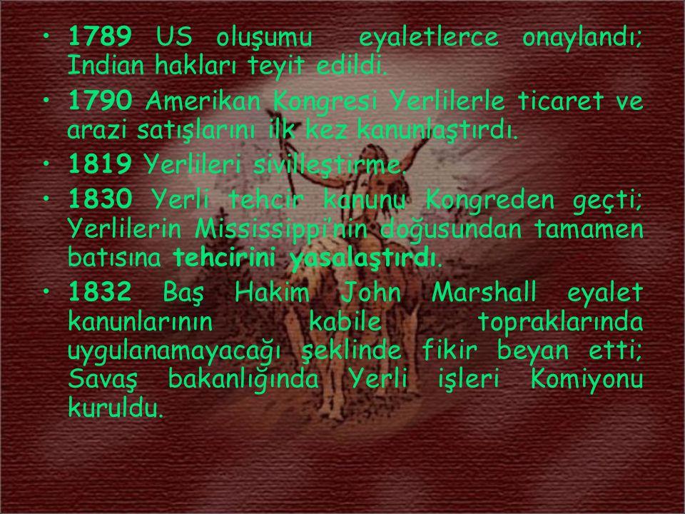 1789 US oluşumu eyaletlerce onaylandı; Indian hakları teyit edildi.