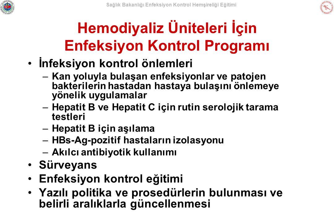 Hemodiyaliz Üniteleri İçin Enfeksiyon Kontrol Programı