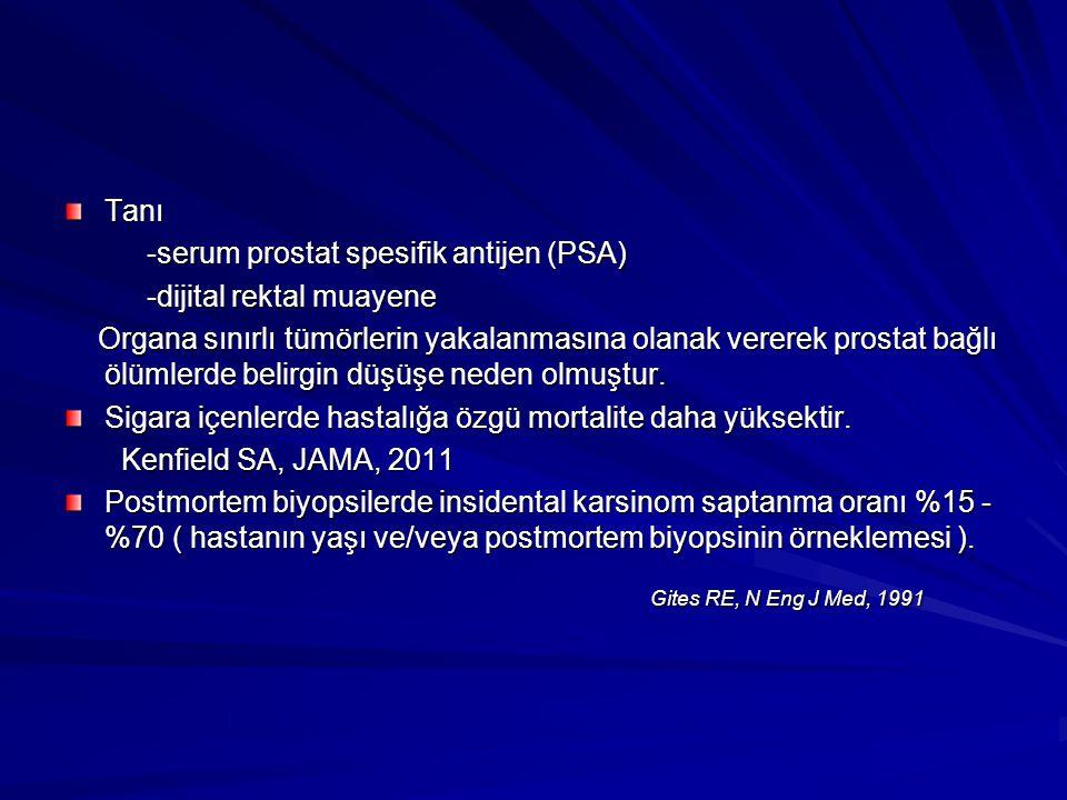 Gites RE, N Eng J Med, 1991 Tanı -serum prostat spesifik antijen (PSA)