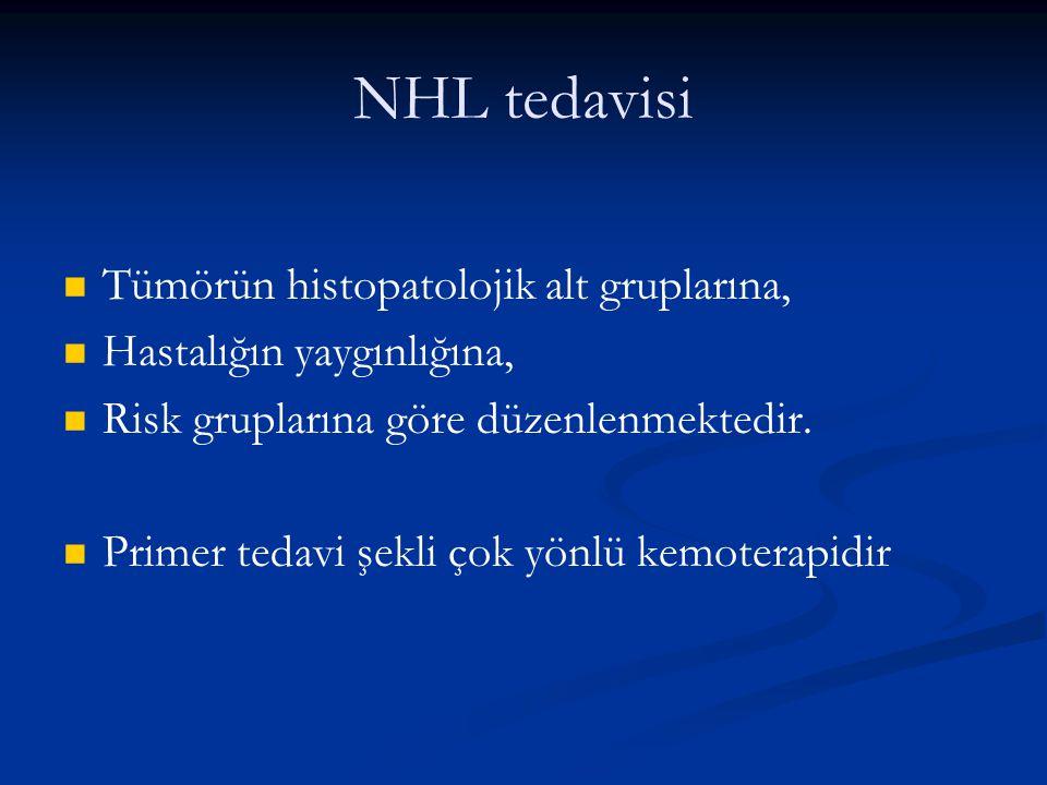 NHL tedavisi Tümörün histopatolojik alt gruplarına,
