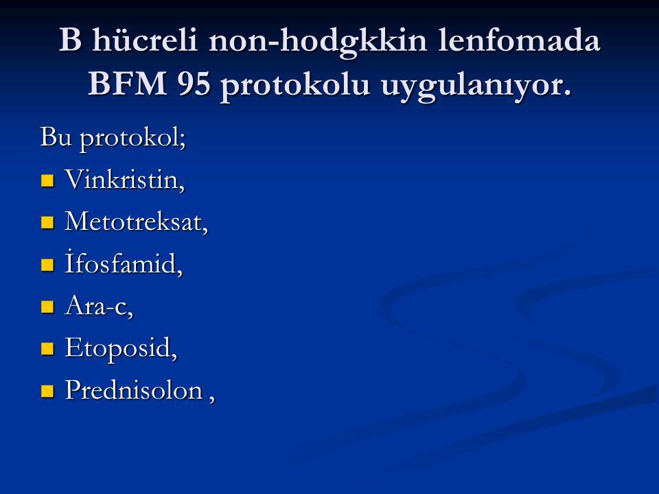 B hücreli non-hodgkkin lenfomada BFM 95 protokolu uygulanıyor.