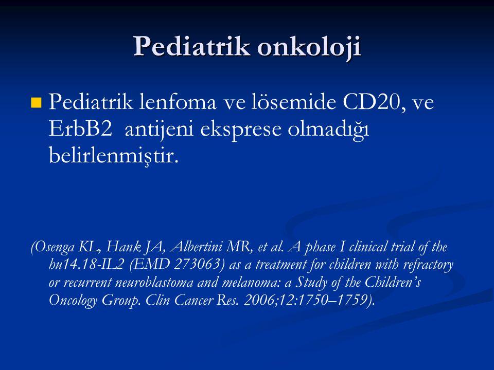 Pediatrik onkoloji Pediatrik lenfoma ve lösemide CD20, ve ErbB2 antijeni eksprese olmadığı belirlenmiştir.