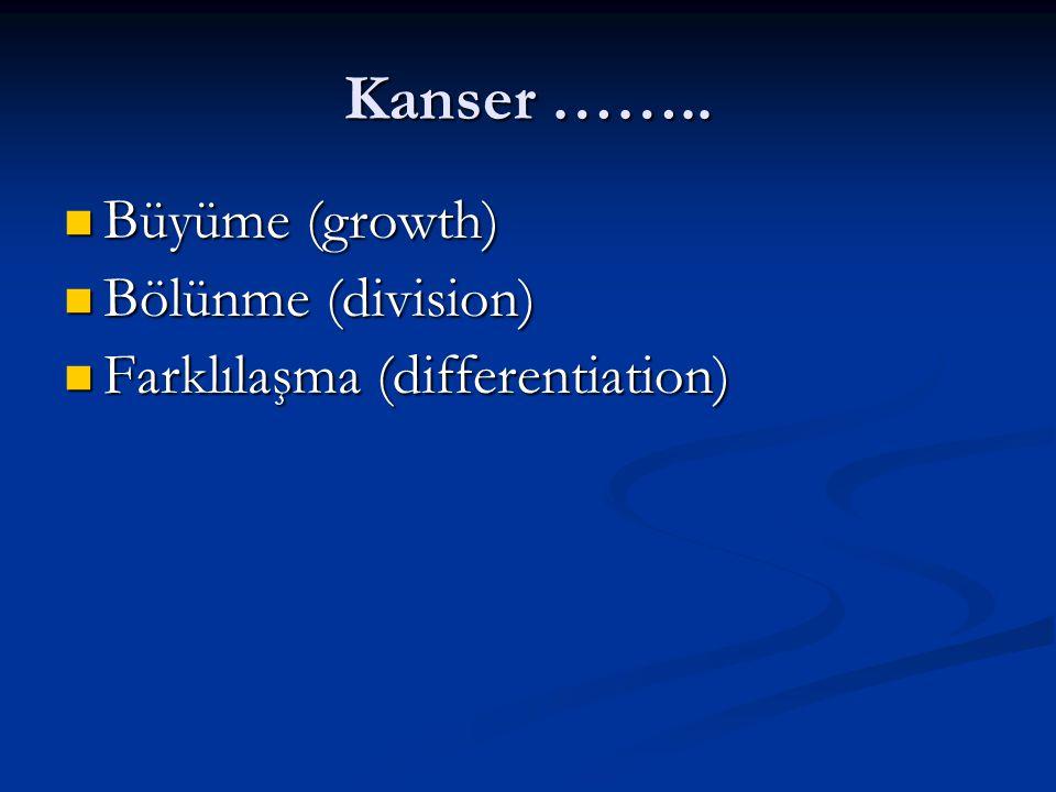 Kanser …….. Büyüme (growth) Bölünme (division)