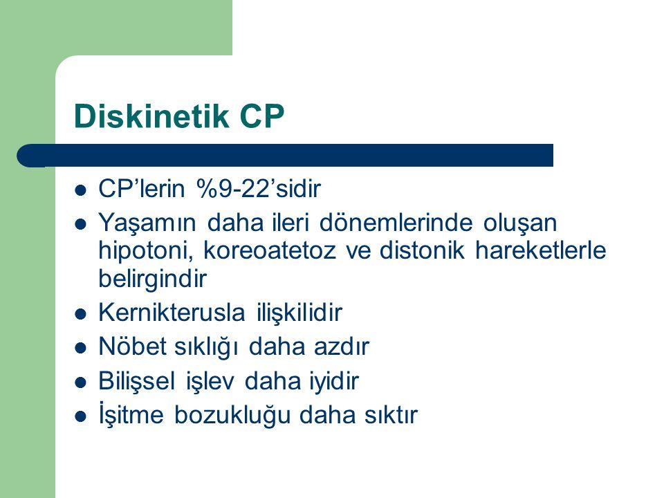 Diskinetik CP CP'lerin %9-22'sidir