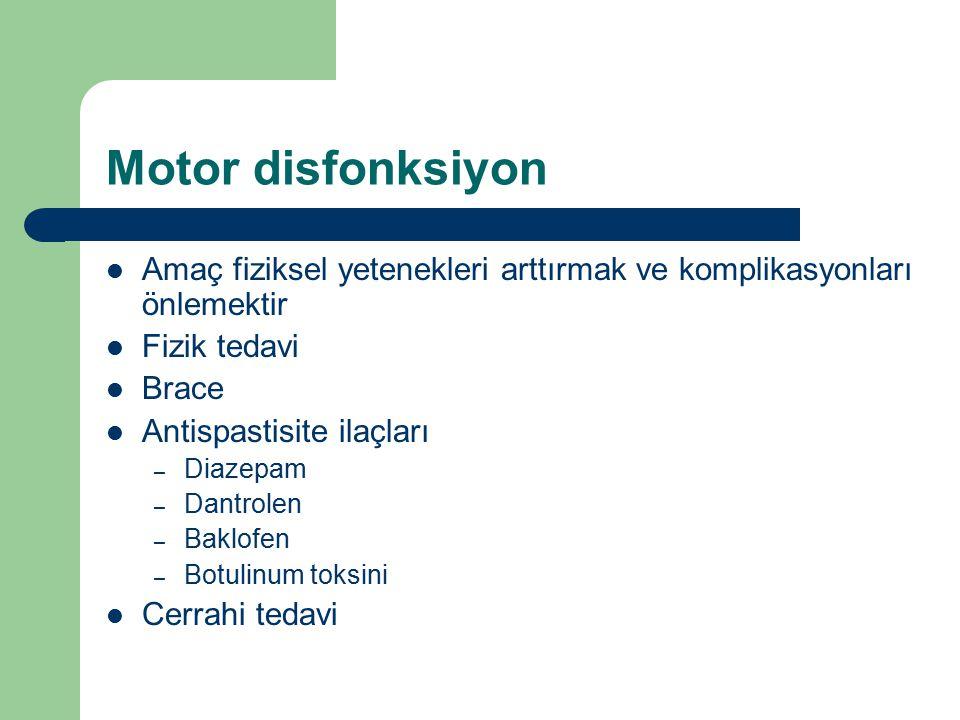 Motor disfonksiyon Amaç fiziksel yetenekleri arttırmak ve komplikasyonları önlemektir. Fizik tedavi.