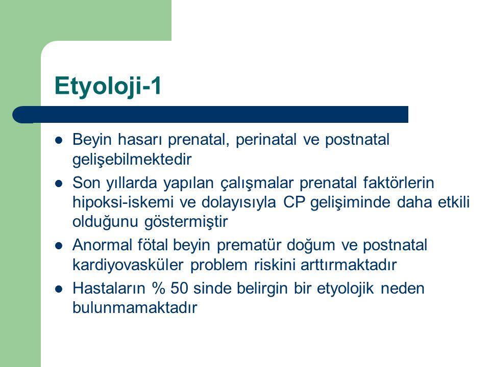 Etyoloji-1 Beyin hasarı prenatal, perinatal ve postnatal gelişebilmektedir.