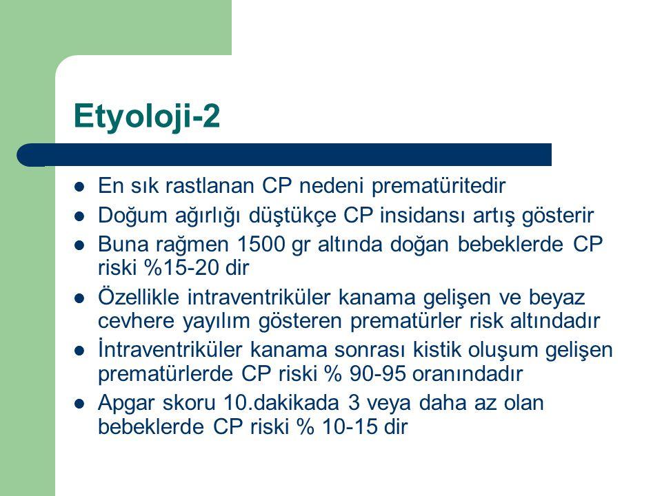 Etyoloji-2 En sık rastlanan CP nedeni prematüritedir