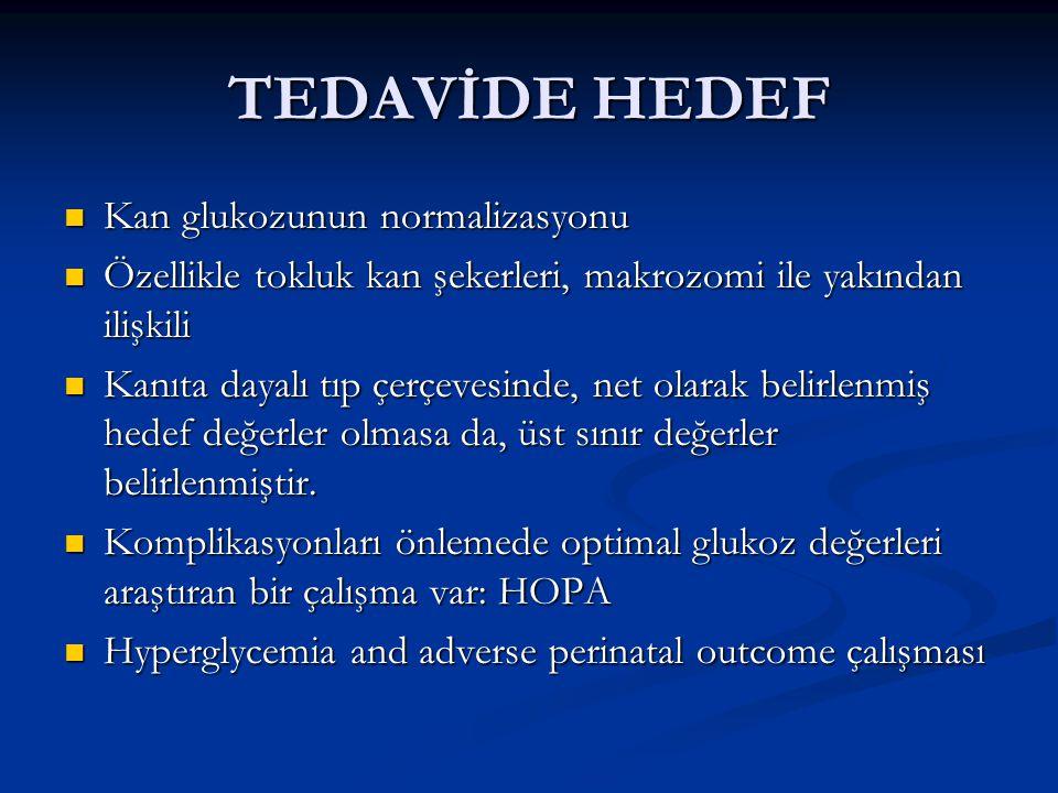 TEDAVİDE HEDEF Kan glukozunun normalizasyonu