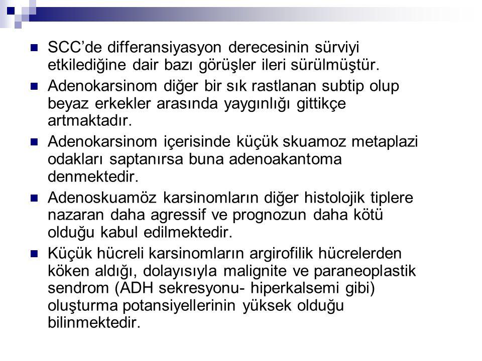 SCC'de differansiyasyon derecesinin sürviyi etkilediğine dair bazı görüşler ileri sürülmüştür.