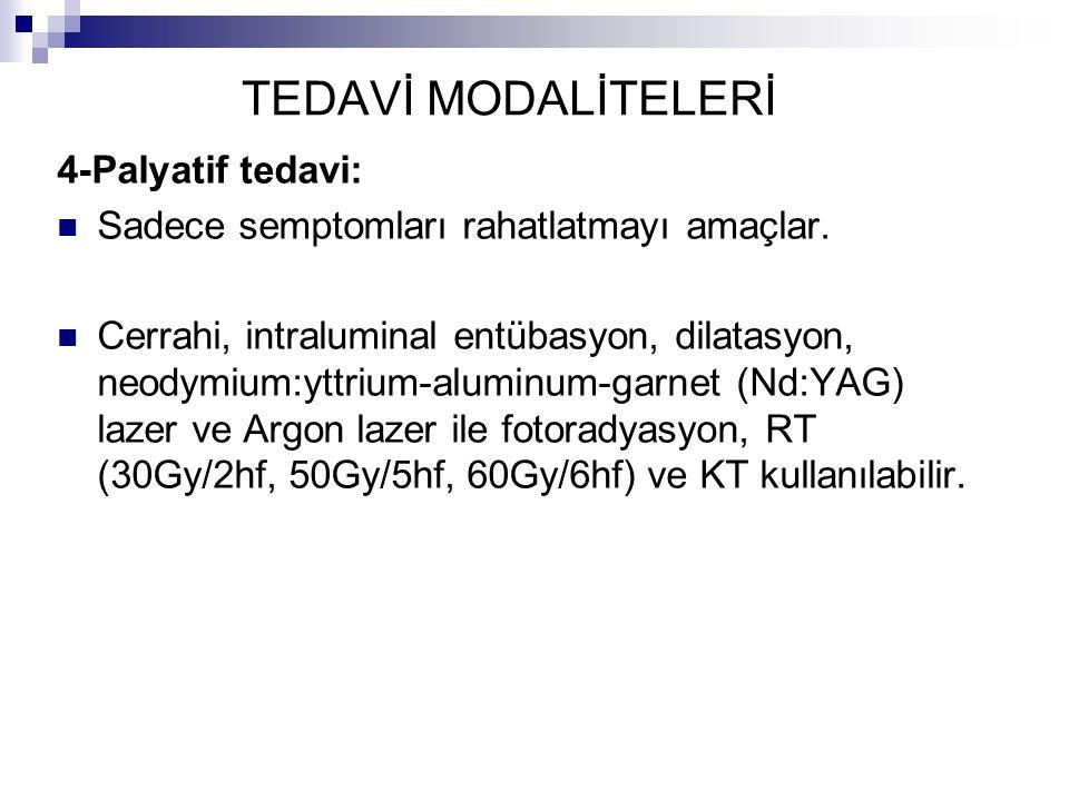 TEDAVİ MODALİTELERİ 4-Palyatif tedavi: