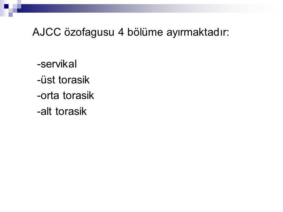 AJCC özofagusu 4 bölüme ayırmaktadır: